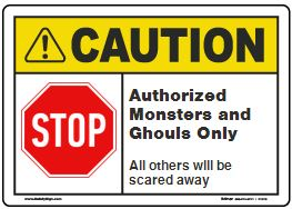 halloween caution sign